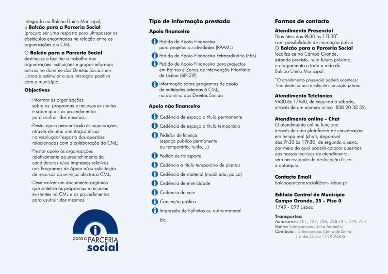 Balcão para a Parceria Social informações