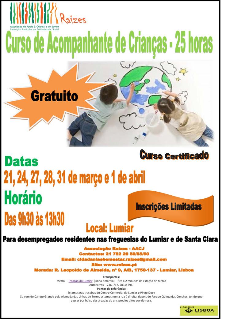 Curso de Acompanhante de Crianças para desempregados cartaz