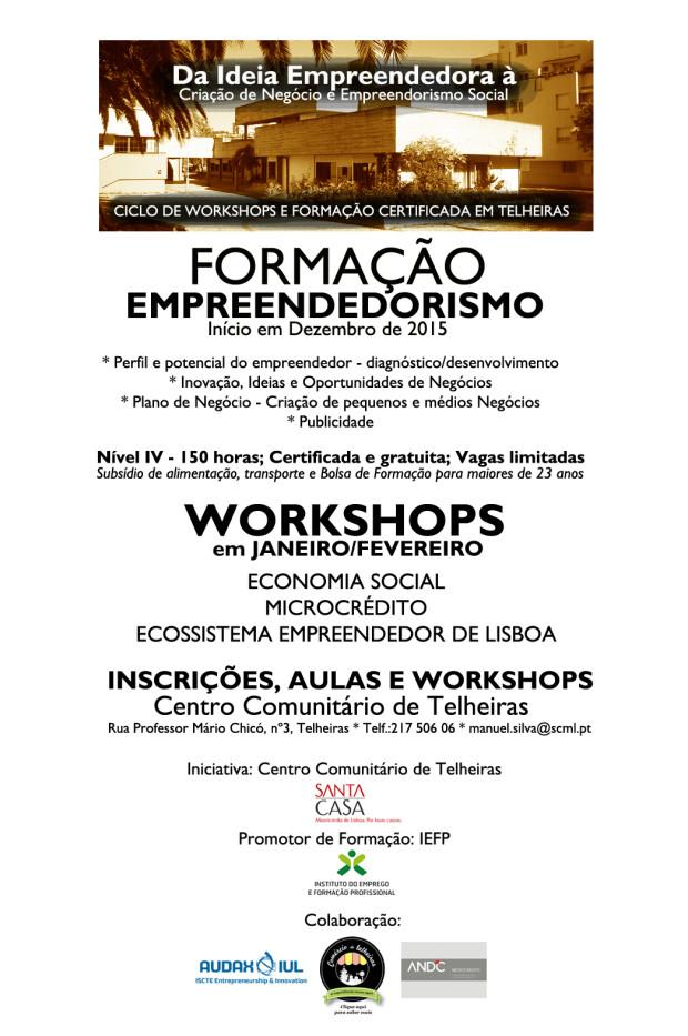 Formação e workshops empreendedorismo cartaz