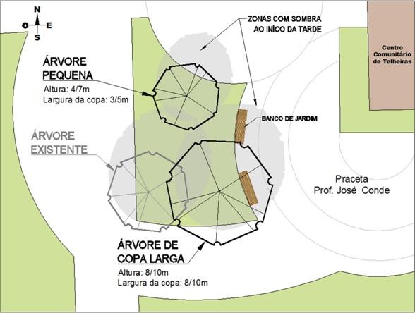 Mapa plantação árvores Praceta José Conde