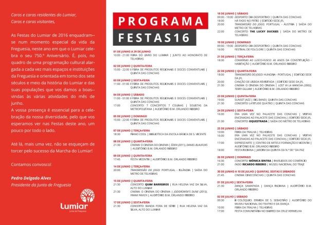 JFL Festas do Lumiar 2016 Programa