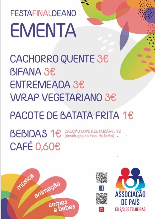 EB Telheiras Festa de Final de Ano 2019 ementa